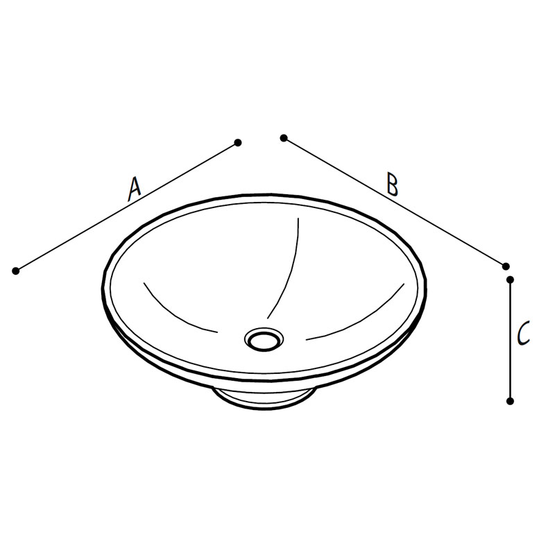 Draw Acrylic stone countertop basin Technical Drawing B46CUM07