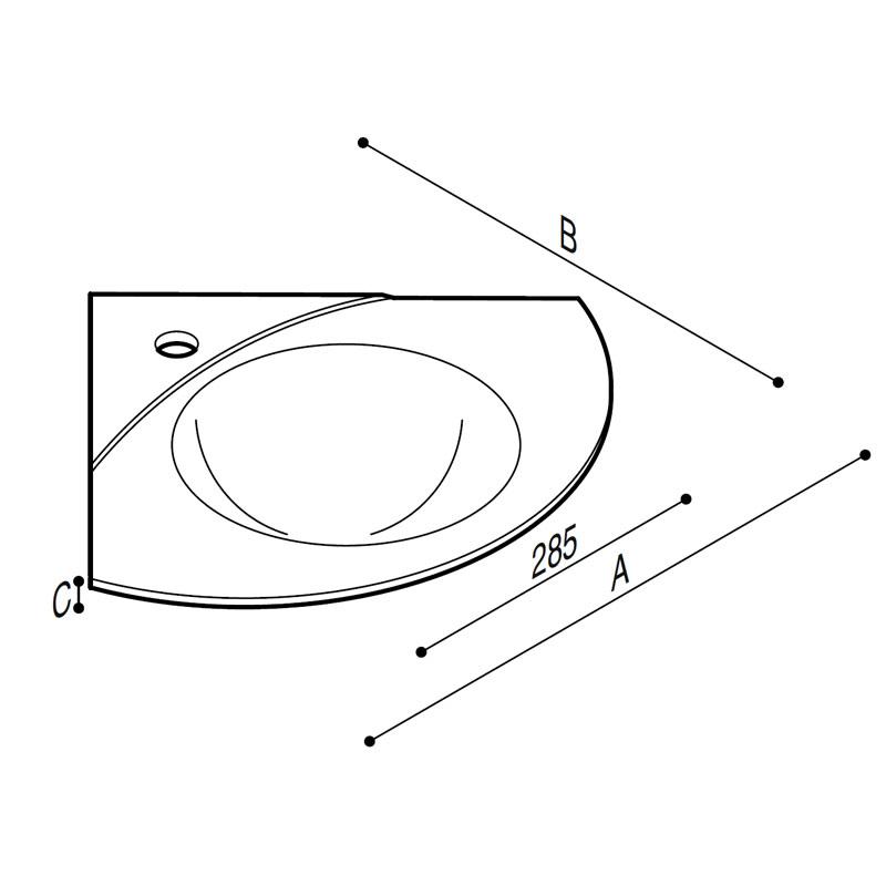 Draw Acrylic stone basin Technical Drawing B46CMM06