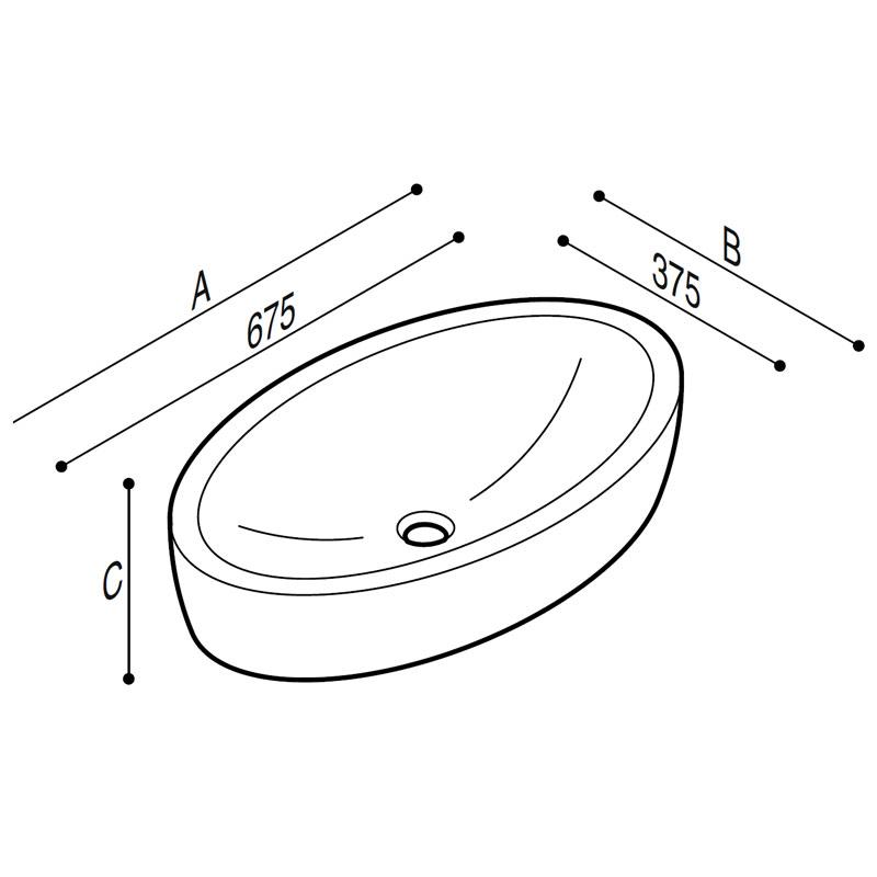 Disegno Catino ovale da appoggio Disegno Tecnico B46CUM01