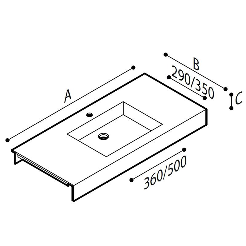 Draw Acrylic stone vanity tob basin Technical Drawing B46TLM45