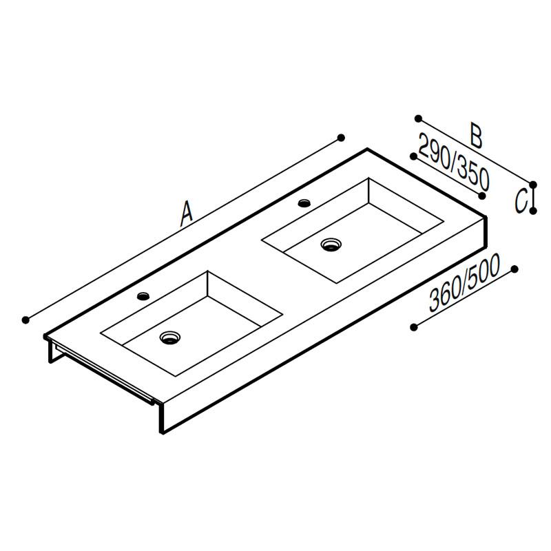 Draw Acrylic stone vanity tob basin Technical Drawing B46TLM48
