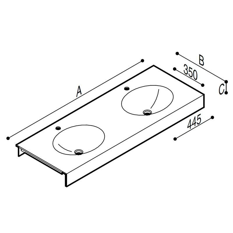Draw Acrylic stone vanity top basin Technical Drawing B46TLM61