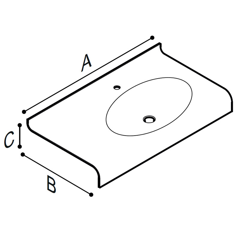 Draw Acrylic stone vanity top basin Technical Drawing B46TLR88