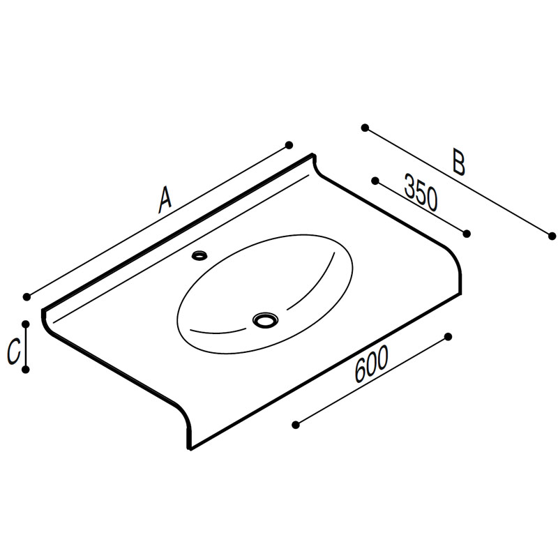 Draw Acrylic stone vanity top basin Technical Drawing B46TLM83