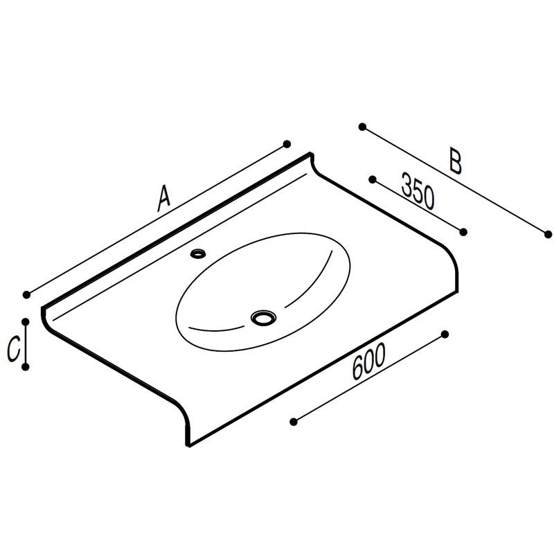 Disegno Piano lavabo Disegno Tecnico B46TLM83