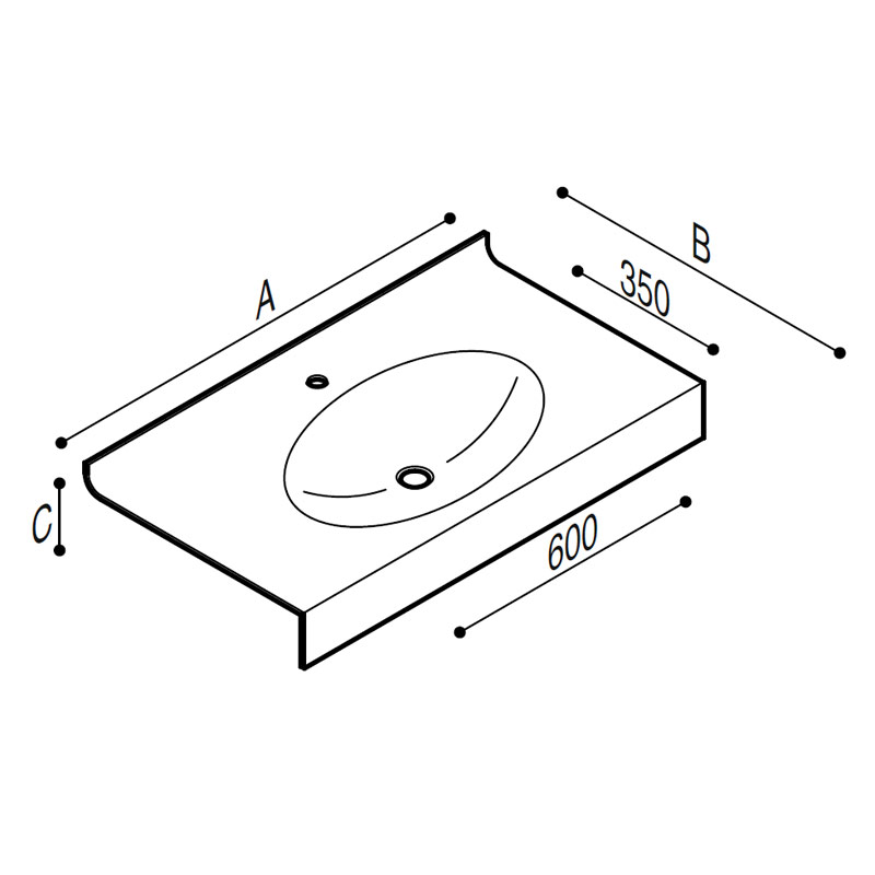 Draw Acrylic stone vanity top basin Technical Drawing B46TLM33