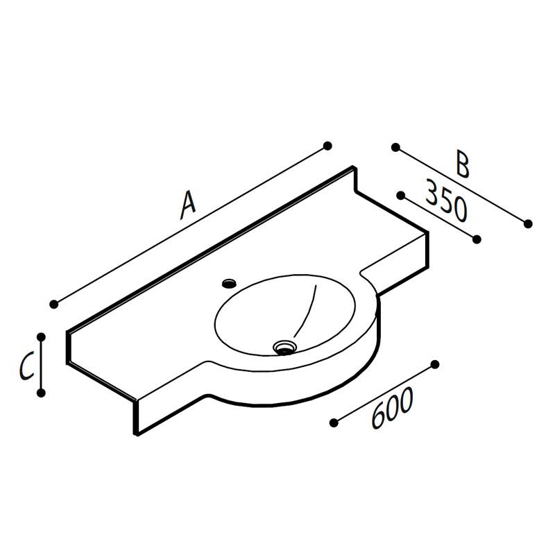 Disegno Piano lavabo Disegno Tecnico B46TLM11