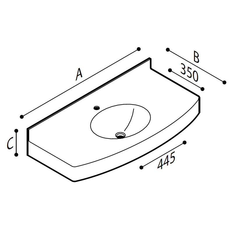 Draw Acrylic stone vanity top basin Technical Drawing B46TLM01