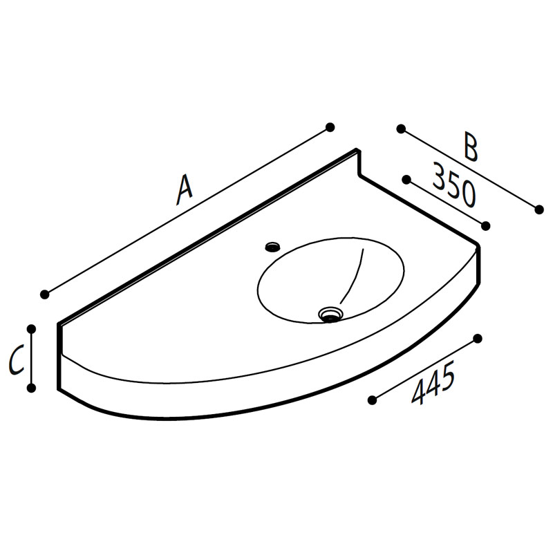 Draw Acrylic stone vanity top basin Technical Drawing B46TLR04
