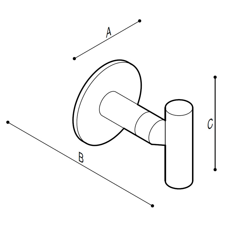 Disegno Appendiabito singolo in acciaoio inox Disegno Tecnico F47AKS01