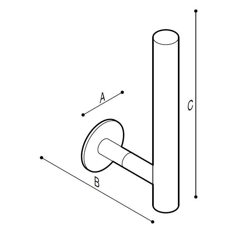 Disegno Porta rotolo verticale Disegno Tecnico F47AGS02