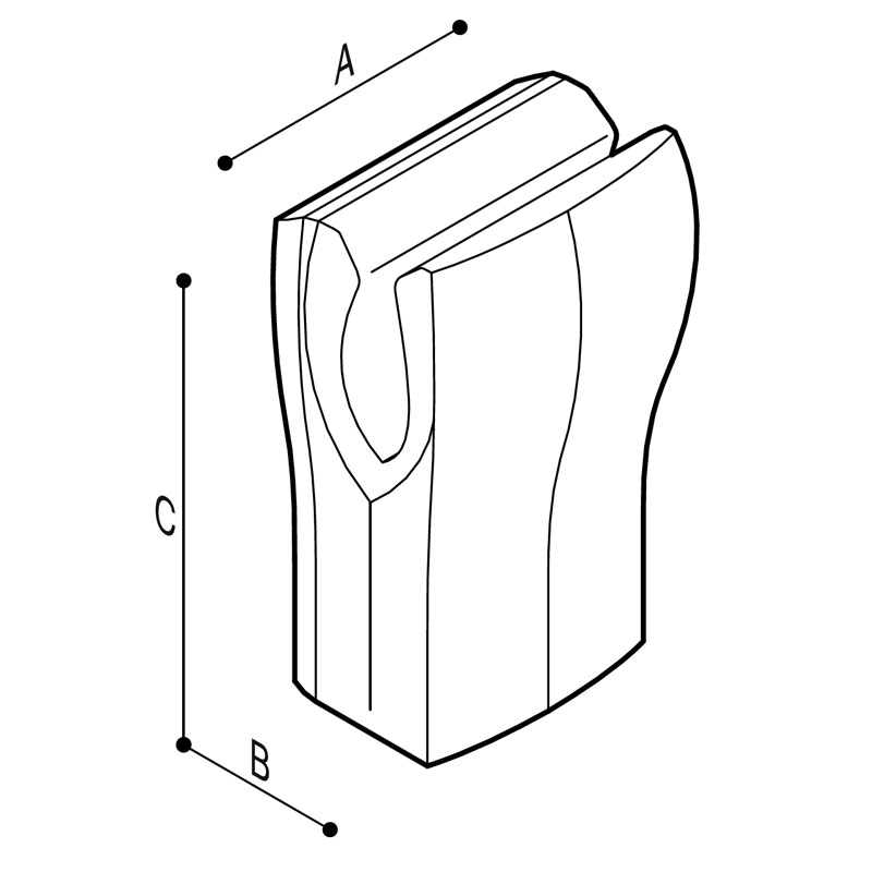 Disegno Asciuga mani ad aria forzata, basso consumo Disegno Tecnico F41AQS06