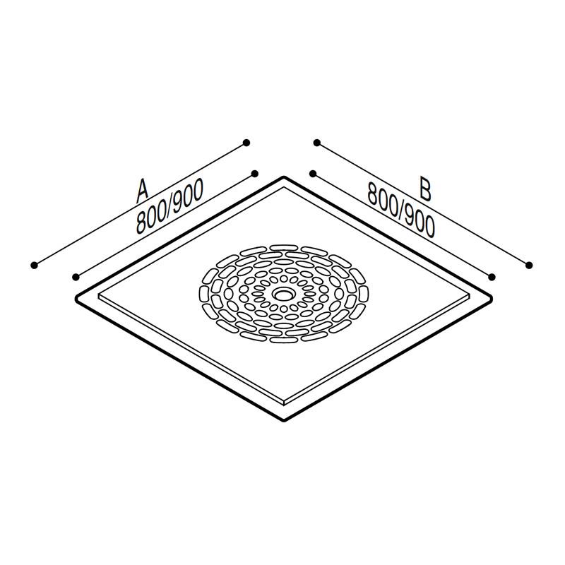 Disegno Piatto doccia a filo pavimento Disegno Tecnico B40CPS02