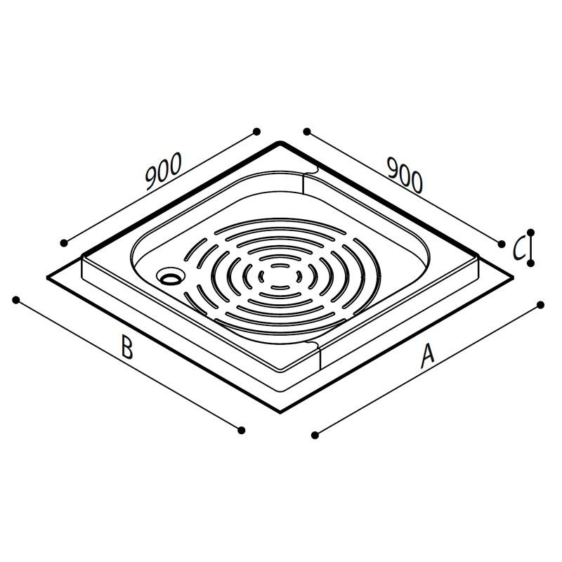 Disegno Piatto doccia con angolo asportabile, modello 440 Disegno Tecnico B40CPS07