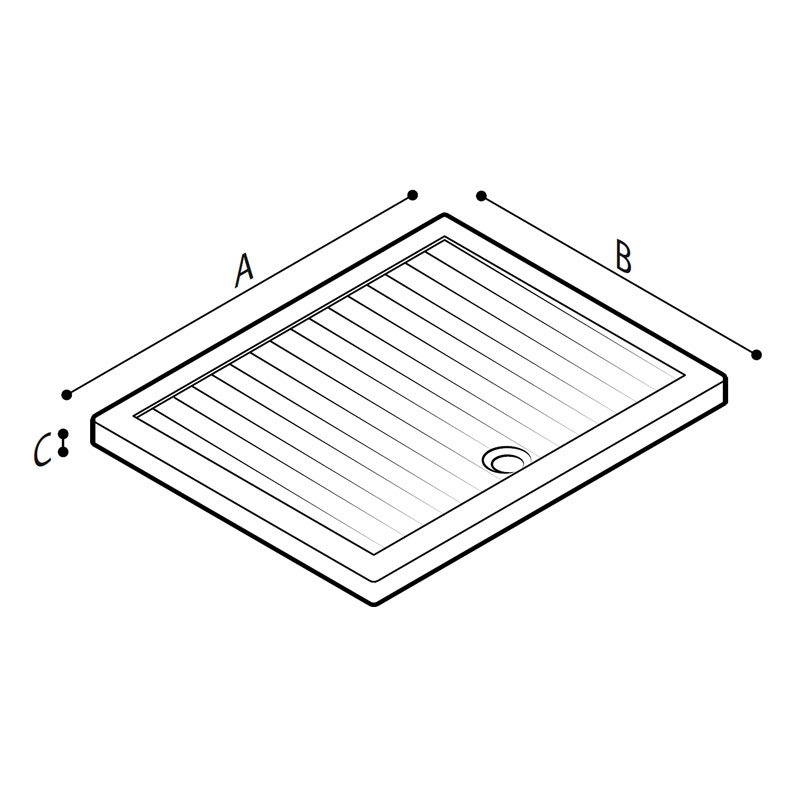 Disegno Piatto doccia a filo pavimento modello 400 Disegno Tecnico B40CPS08