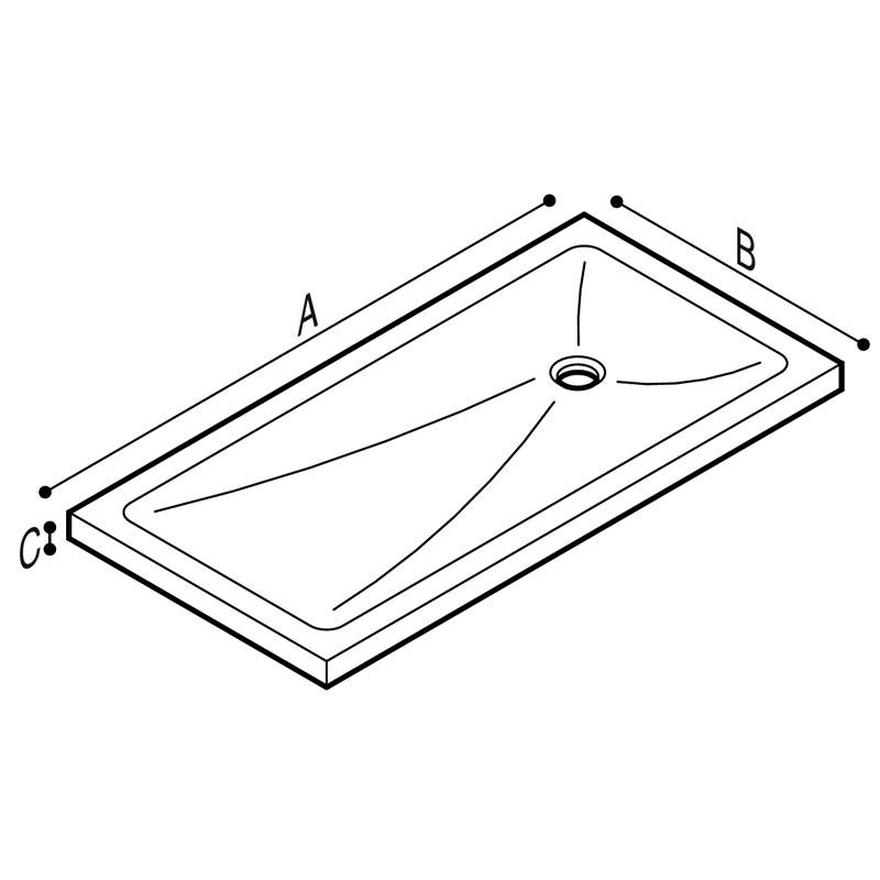Draw Shower tray, rectangular, acrylic stone Technical Drawing B46CPM95