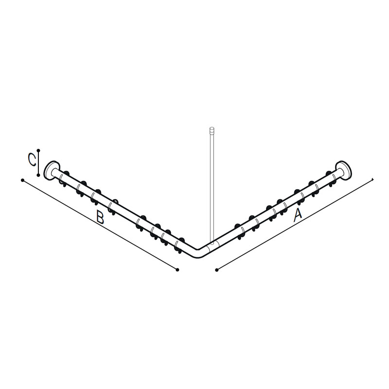 Draw L-shaped shower curtain rod Technical Drawing G55JRS10