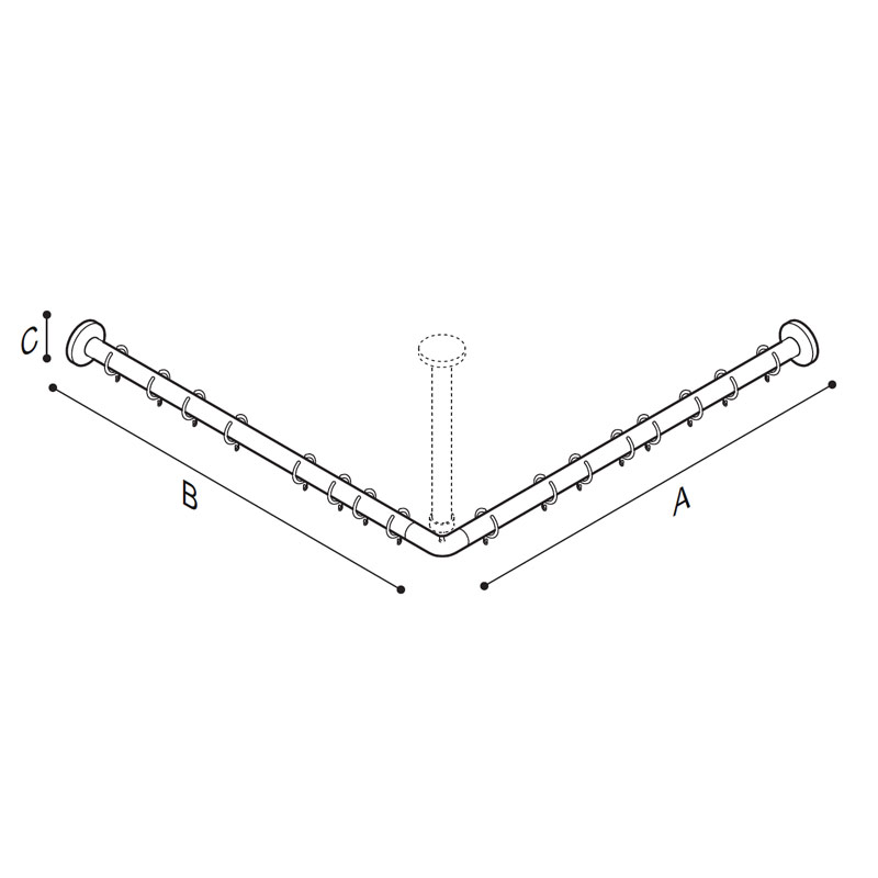 Draw L-shaped shower curtain rod Technical Drawing G29JRS10