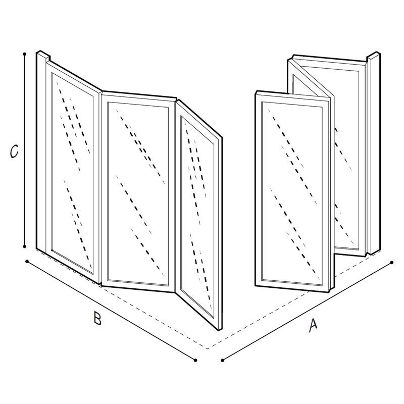 Disegno Box doccia ad angolo due ante Disegno Tecnico C53FES01