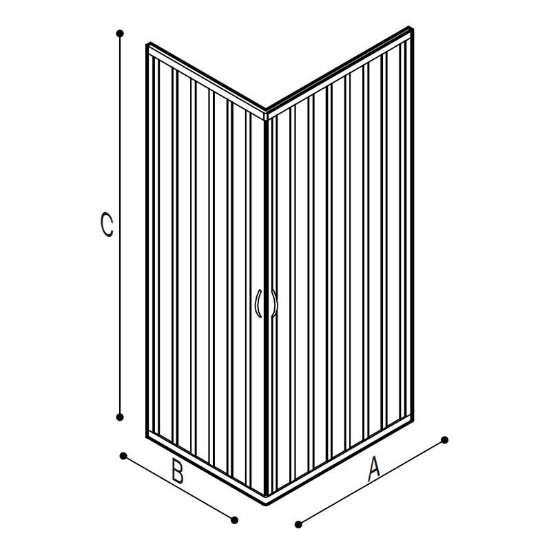 Disegno Box doccia ad angolo a persianella Disegno Tecnico C53FHS01