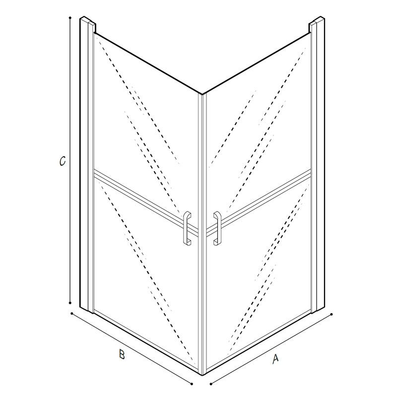 Disegno Box doccia per angolo Disegno Tecnico C53FBS11