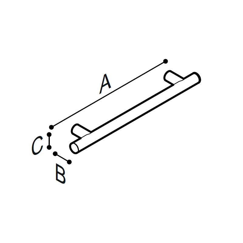 Disegno Maniglia di sicurezza, 48,6 cm. Disegno Tecnico G18UAS33