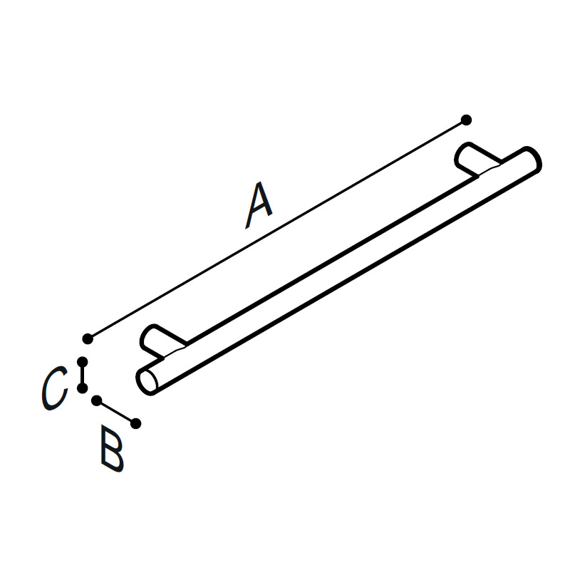 Draw Flangeless straight safety grab rail Technical Drawing G18UAS32