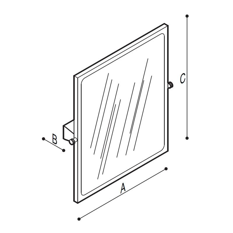 Disegno Specchio inclinabile, in vetro di sicurezza Disegno Tecnico F41JPS25