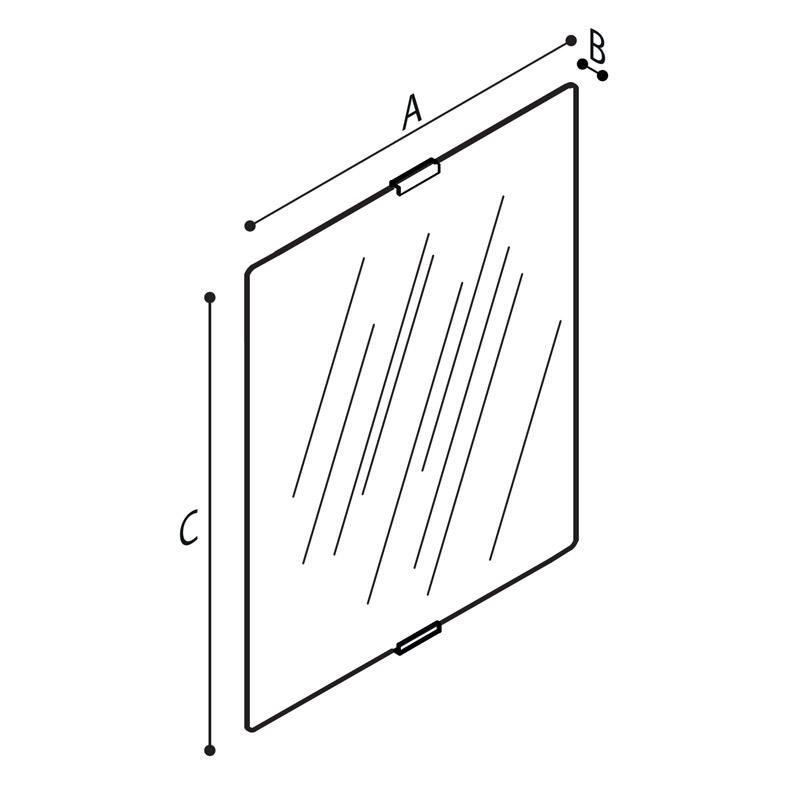 Disegno Specchio inclinabile, in vetro di sicurezza Disegno Tecnico F41JPS20