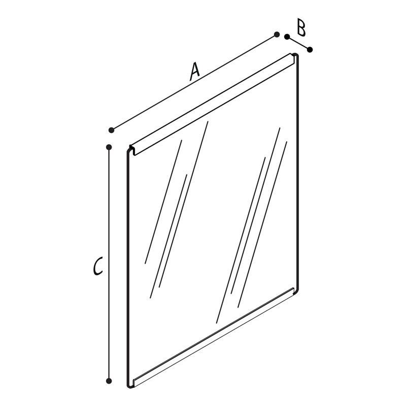 Disegno Specchio inclinabile, in vetro di sicurezza con bordo superiore e inferiore Disegno Tecnico F41JPS27