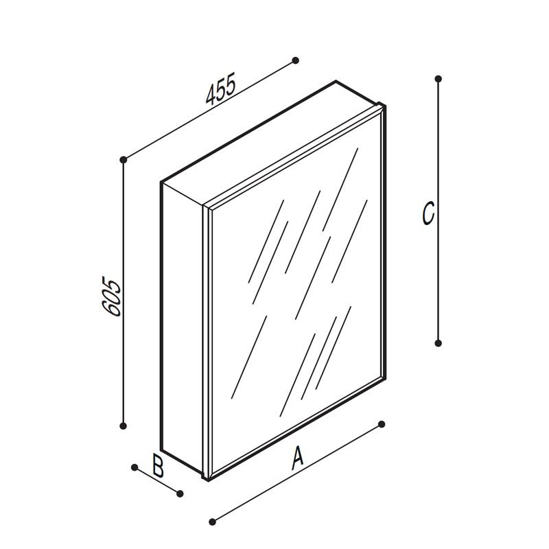 Disegno Pensile in acciaio inox, per incasso, con anta munita di specchio Disegno Tecnico F70APS11