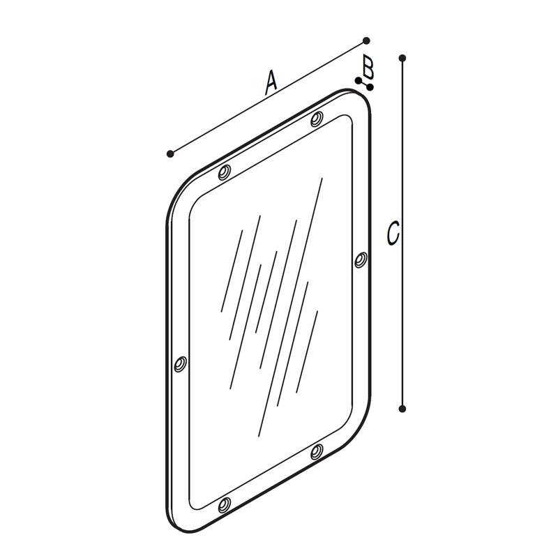 Disegno Specchio e cornice in acciaio inox Disegno Tecnico F70ATS14