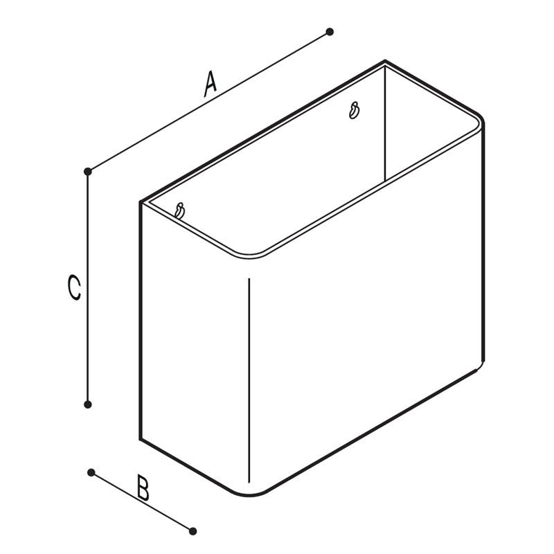 Disegno Cestino rifiuti appeso rettangolare Disegno Tecnico F70AFS04