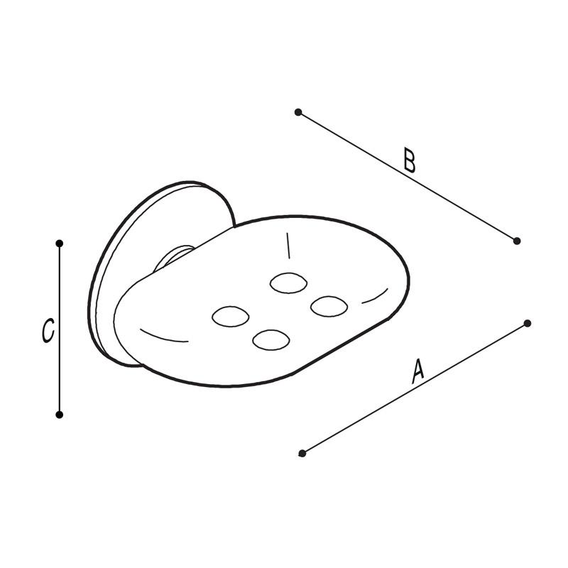 Disegno Porta sapone con vaschetta fissa in ottone cromato Disegno Tecnico G01JQS10