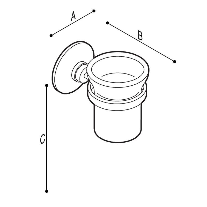 Disegno Porta bicchiere con bicchiere in vetro Disegno Tecnico G01JQS11