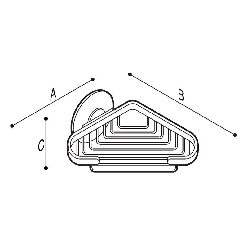 Disegno Porta sapone angolare con griglia in ottone cromato Disegno Tecnico G01JQS12