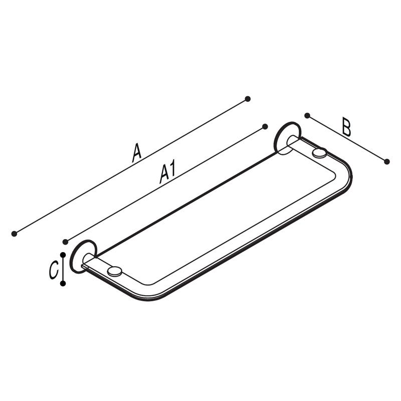 Disegno Mensola con struttura in tubo e ripiano in plexiglass Disegno Tecnico G01JQS08