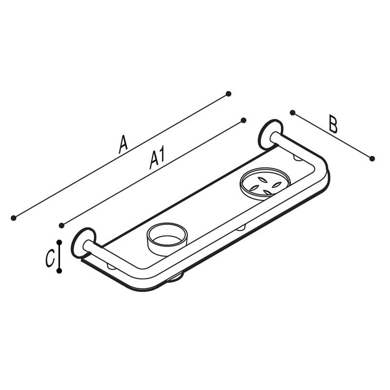 Disegno Mensola con struttura in tubo e ripiano in plexiglass Disegno Tecnico G01JQS37