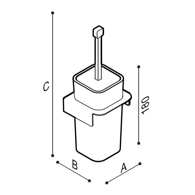 Disegno Scovolino con porta scovolino Disegno Tecnico F18AHS01