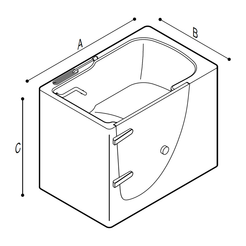 Draw Walk-in bathtub with external opening door Technical Drawing M74MDS06