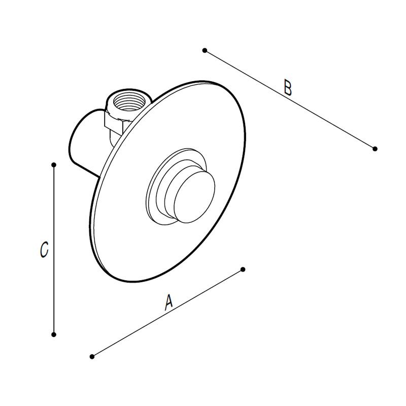 Disegno Rubinetto a pulsante da incasso a parete Disegno Tecnico H51GCS07