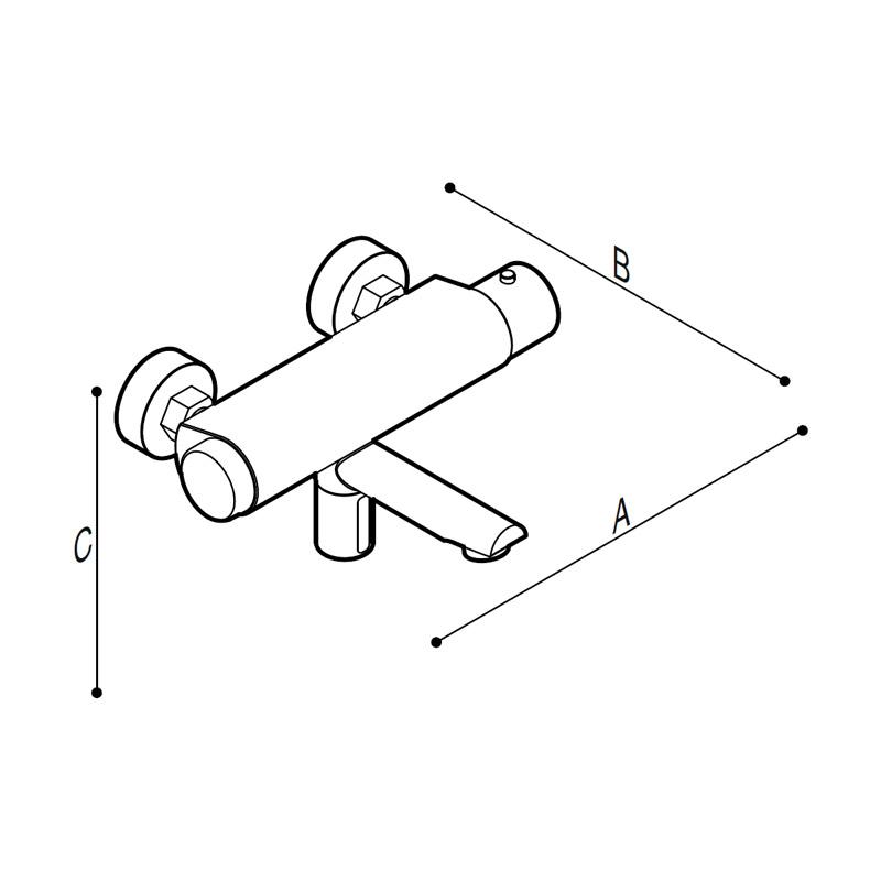 Disegno Miscelatore termostatico elettronico touch-free per lavello. Disegno Tecnico H51GDE01