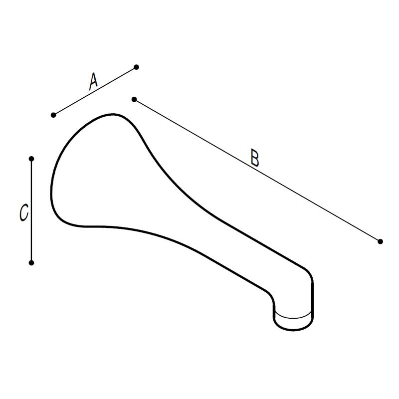 Disegno Bocca di erogazione fissa a parete Disegno Tecnico H51GGS04