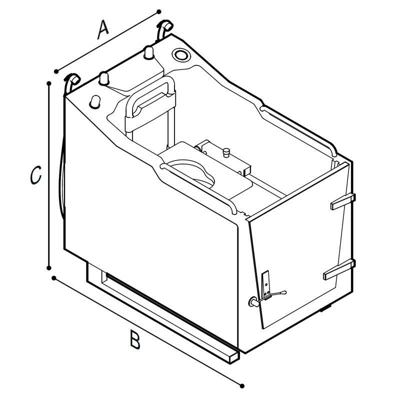 Disegno Vasca doccia a chiusura stagna munita di quadro di comando incorporato, integrata da vaso WC Disegno Tecnico M74MDS04