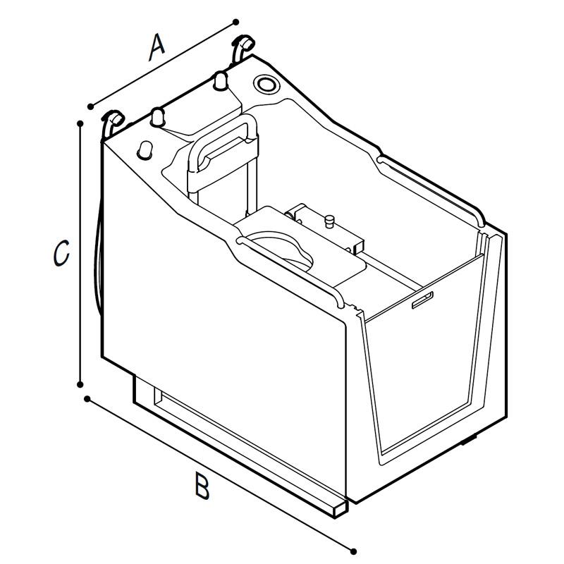 Disegno Cabina doccia con wc e con quadro di comando incorporato Disegno Tecnico M74MCS03
