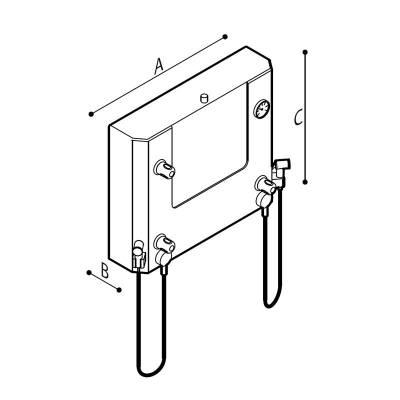 Disegno Quadro di comando a muro con doccette per disinfezione e lavaggio Disegno Tecnico M74MHS01