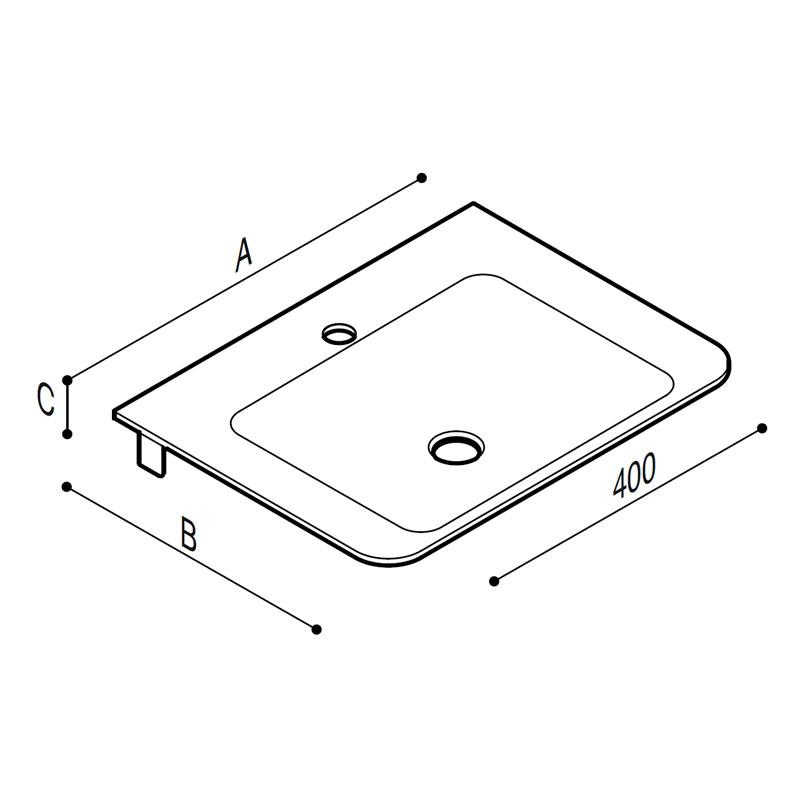 Draw White acrylic stone tiny rectangular console. Technical Drawing B44CNM04