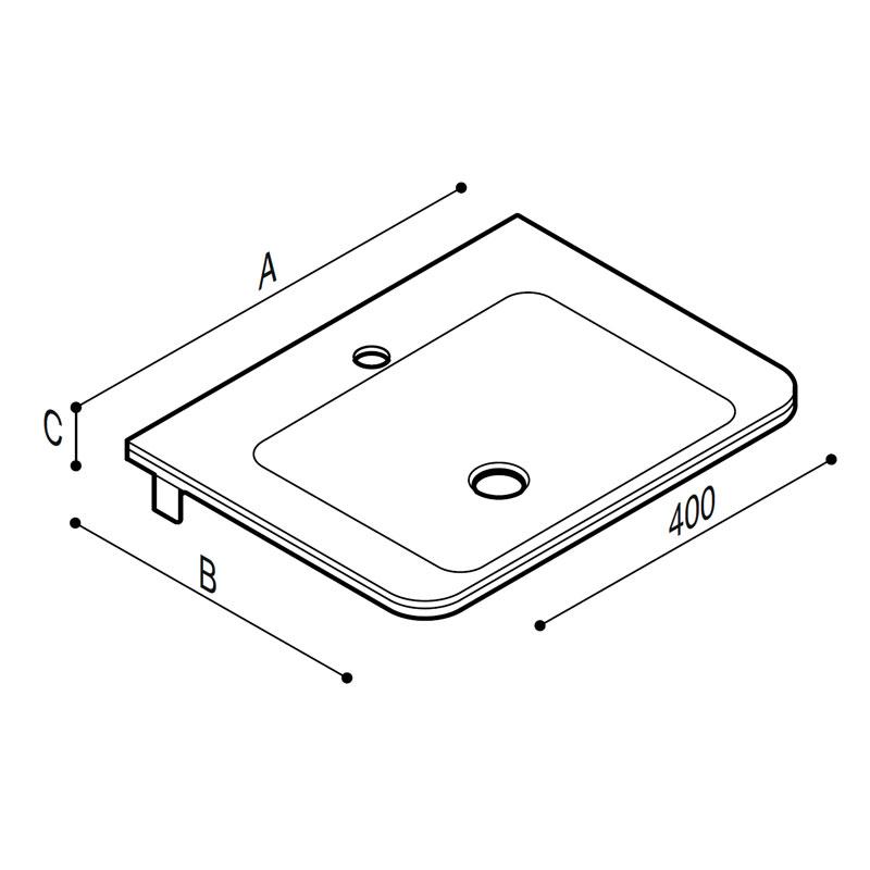 Draw White acrylic stone tiny rectangular console. Technical Drawing B44CNM05
