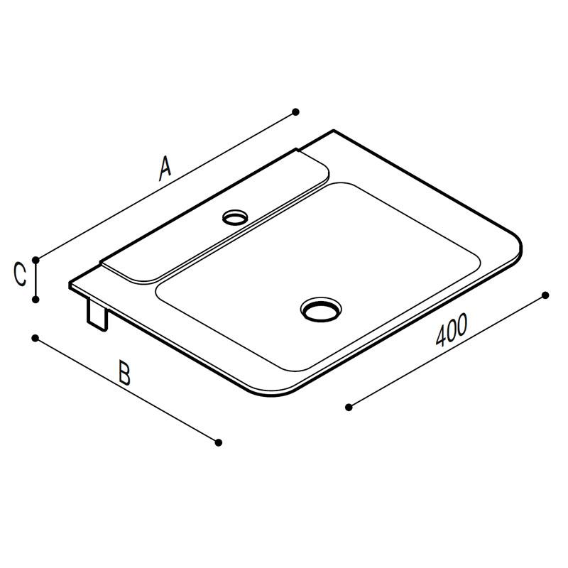 Disegno Mini consolle con catino a forma rettangolare, inserto colorato, munita di staffe Disegno Tecnico B44CNM06