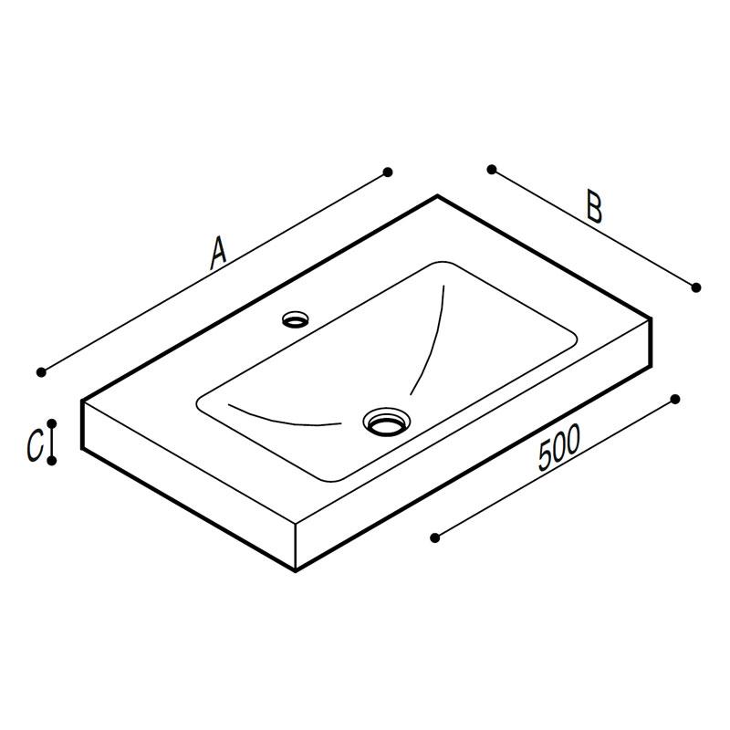 Draw Acrylic stone rectangular console Technical Drawing B44CNM11